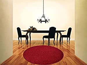 Shaggy Rug Red 963 Plain 5cm Thick Soft Pile 120cm (4ft) Round Circle Modern 100% Berclon Twist Fibre Non-Shed Polyproylene Heat Set - AVAILABLE IN 6 SIZES by Quality Linen and Towels by Quality Linen and Towels