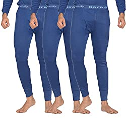 Dora Men's Fleece Thermal Pants (Pack of 3, 3006-Bottom-Blue_80, Blue, 80)