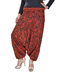 Soundarya Women's Regular Fit Harem Pants (AP10, Orange)
