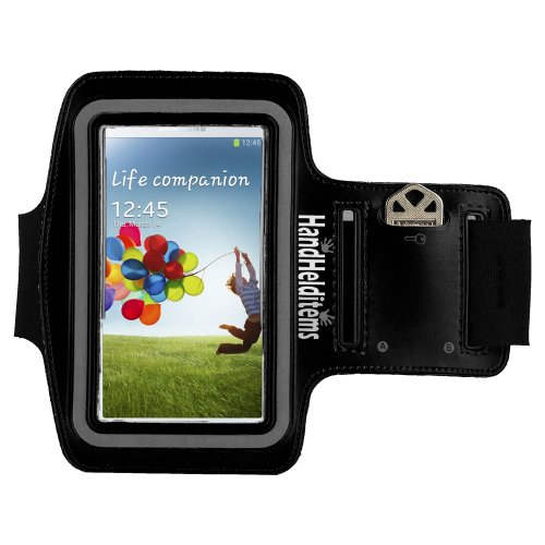 Hhi S4 Sports Armband With Key Holder Pocket For Samsung Galaxy S4 Black. Hhi S4 Armband Fits Small To Large Arm Sizes (Package Include A Handhelditems Sketch Stylus Pen)