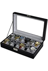 Sodynee WBPU12-03 Jewelry Case Organizer, Pu Leather with Display Glass Top, Large, Black