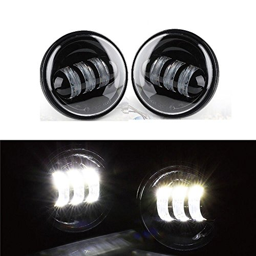 Otps 2Pcs 4.5 Inches 30w Round OSRAM LED Motorcycle Fog Light kit for Harley Davidson / White Working Offroad Driving Light Daymaker Headlights