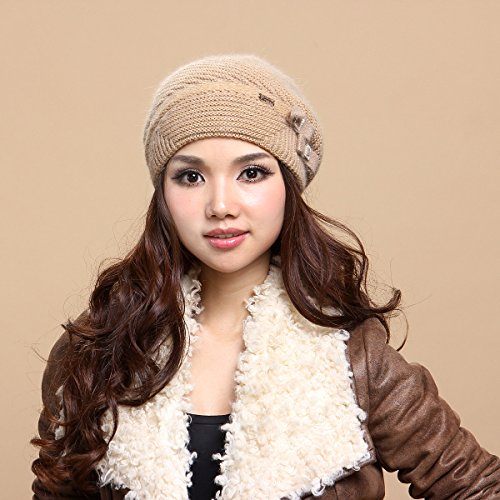 FQG*Ms. autunno e inverno cappello in maglia di lana cappelli a maglia spessa caldo inverno cappucci su sub-cap , Marrone