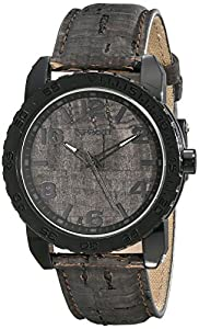 Sprout Men's ST/7009BKBK Black Corn Resin Case Black Cork Dial and Strap Watch