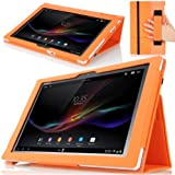 MoKo Slim Folding Cover Case for Sony Xperia Tablet Z 10.1 inch, ORANGE (with Smart Auto Sleep / Wake Feature, Will NOT Fit Xperia Z2 Tablet)