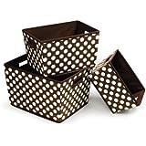 Badger Basket 3 Pack Polka Dot Nesting Trapezoid Shape Folding Baskets, Brown