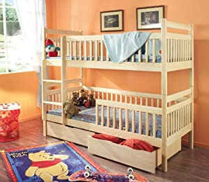 Aleksander Pine Wood Childrens Bunk Bed With Mattresses And Storage Drawers