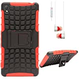 DMG Dual Hybrid Hard Grip Rugged Kickstand Armor Case For Sony Xperia Z3 (Red) + White Stereo Earphone With Mic...