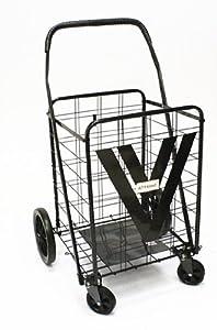 ATHome Extra Large Heavy Duty Shopping Cart with Swivel Wheels, Black