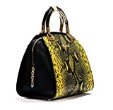 Vogue Nation Imported Snake-Print Yellow Tote Bag