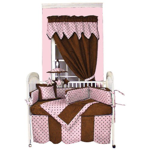 Hoohobbers 4-Piece Crib Bedding, Dots Pink