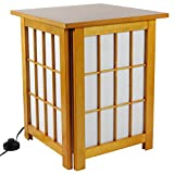 "Best Price Great Quality Asian Floor Lamp - 19"" Hokkaido Japanese Design Style End Table Nightstand Oriental Lantern - HONEY"