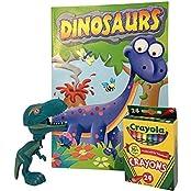 Kids Chomping Dinosaur Bundle Large Plastic Chomping Toy Dinosaur, Dinosaur Coloring Book, 24 Pk Crayola Crayons