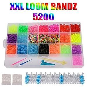 LOOM Starterset Kit 5200 Bänder Starter Set Box 22 Farben Gummibänder Bandz + Webrahmen + Clips + Haken