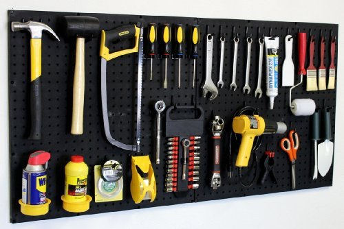 WallPeg 24″ x 48″ Garage Pegboard Kit with Pegboard Accessories AM 24242BK