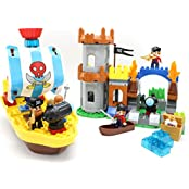 Pirate Ship And Castle Fantasy 162 Pc Building Brick Play Set With Pirates, Working Cannon And Pirate Ship This...