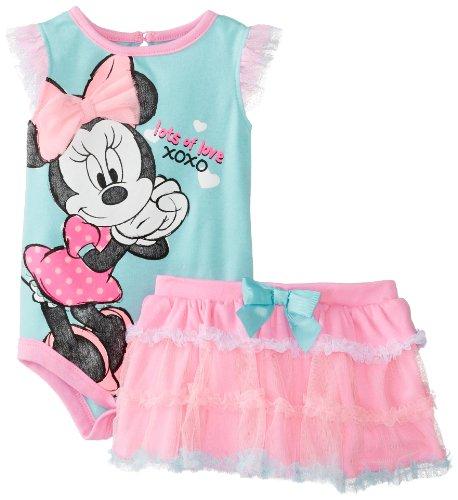 Disney Baby Baby-Girls Newborn Aruba Blue Minnie Mouse Tutu Skirt Set With Flutter Sleeves, Cotton Candy, 3-6 Months front-965008