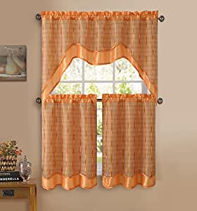 3 Pc Kitchen Window Curtain Set Double Layer