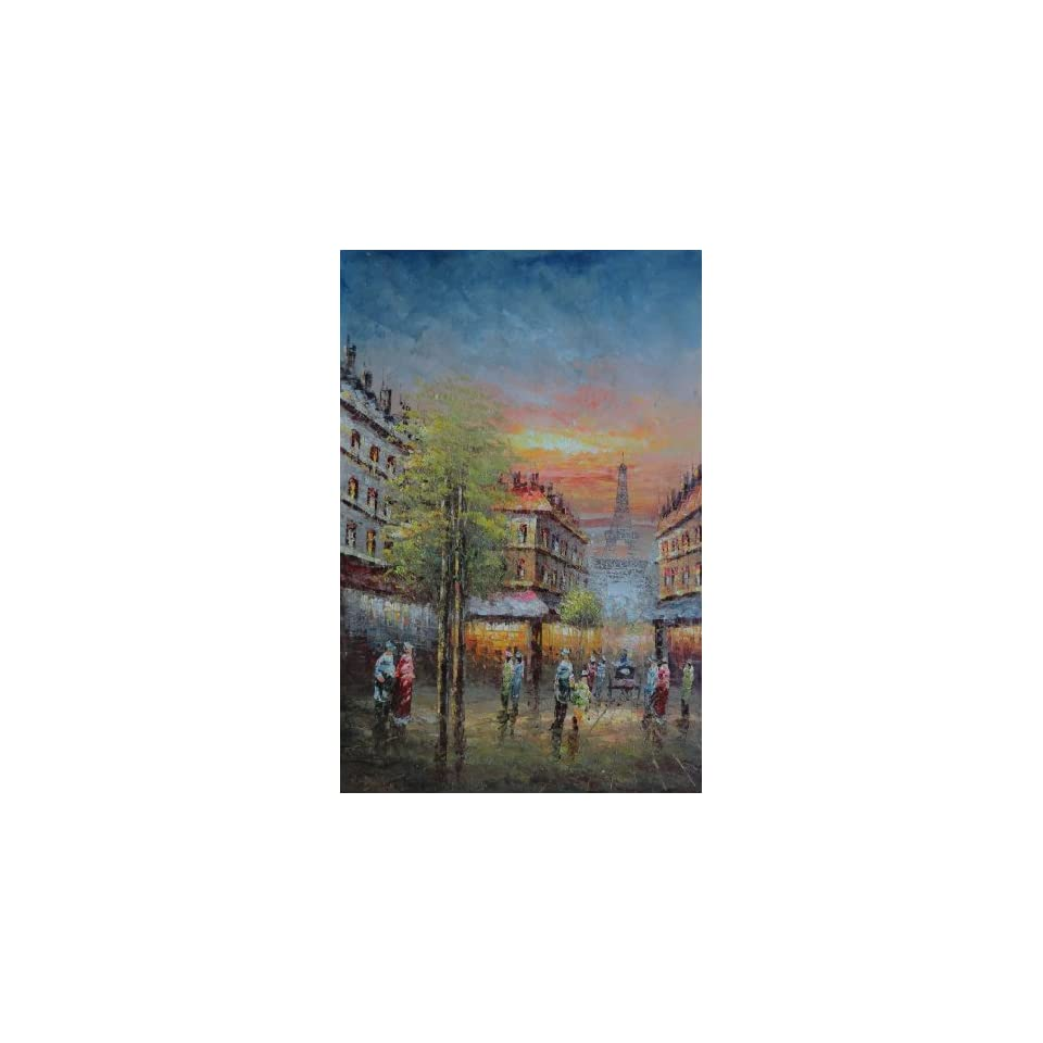 Oil Painting 36x24 Street Scene Near Paris Eiffel Tower Cityscape France Impressionism, BeyondDream Art