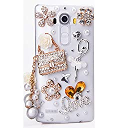 LG G Stylo Case, Sense-TE Luxurious Crystal 3D Handmade Sparkle Diamond Rhinestone Clear Cover with Retro Bowknot Anti Dust Plug - Ballet Girl Bag Pearl Pendant Flowers LOVE / Clear