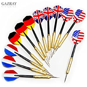 Buy 12 pcs (4 sets) Steel Needle Tip Dart Darts With National Flag Flight Flights by Gazray