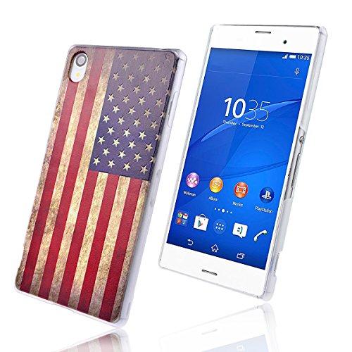 WeLoveCase für Sony Xperia Z3 PC Hard Case Backcover Schutzhülle Flagge von Amerika Pattern Hand Hülle Handy Case Tasche Cover für Sony Xperia Z3 (5.2 Zoll)