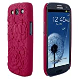 Skque 3D Rose Flower Carving Cover Case for Samsung Galaxy S3 I9300, Hot Pink