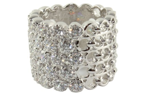 Sterling Silver Eternity Honeycomb Ring with Cubic Zirconia