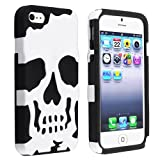 eForCity Hybrid Rubber Case Compatible with Apple iPhone 5, Black Skin / White Skull Hard