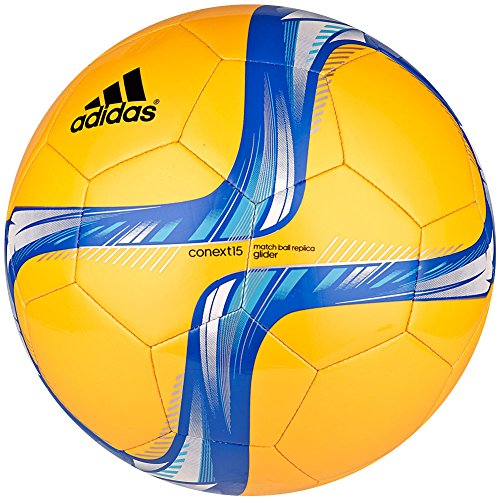 adidas Performance Conext15 Glider Soccer Ball, Solar Gold/Blue/White/Bright Cyan, 4