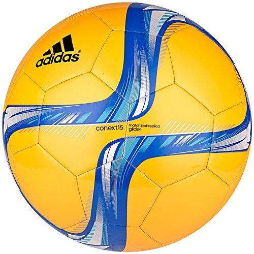 adidas Performance Conext15 Glider Soccer Ball, Solar Gold/Blue/White/Bright Cyan, 3