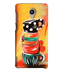 Omnam Hand Painted Cups On Each Other Designer Back Cover Case For Meizu M2