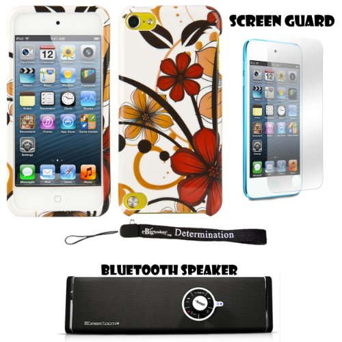 Autumn Flowers 2 Piece Cover Shield Protector Case For Apple Ipod Touch 5 ( 5Th Generation) 32Gb, 64Gb + Anti Glare Screen Protector Guard + Supertooth Disco Bluetooth Speaker With Aux Cable + An Ebigvalue Tm Determination Hand Strap