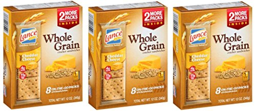 Lance Whole Grain Cheddar Cheese Crackers - 3 Boxes of 8 Individual Packs (Wheat Cheese Crackers compare prices)