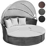 Canapé de jardin modulable gris - en résine tressée - avec table basse et pare-soleil Ø 166 cm - DIVERSES COULEURS AU CHOIX