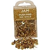 JAM Paper® - Gold Push Pins / Thumb Tacks - 100 Colorful Pushpins per Container