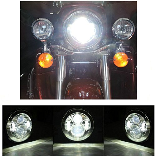 EXCOUP Motorcycle LED Daymaker Projector Headlight Light for Harley Davidson, 7-Inch (Hummer Shaped Speakers compare prices)