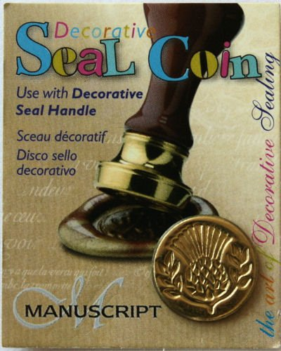 Manuscript Pen Decorative Seal Coin, 0.75-Inch, Thistle