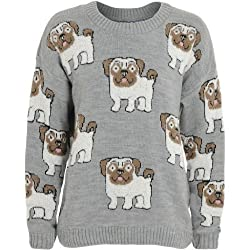 Womens Soft Knit Textured Pug Face Jumper from Mary Jane Fashion