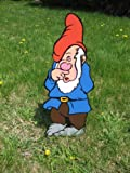 Lawn Art Figure Sneezy From Snow White & The Seven Dwarfs Handcrafted & Painted With Great Detail Metal Stakes & Wall Mount Included