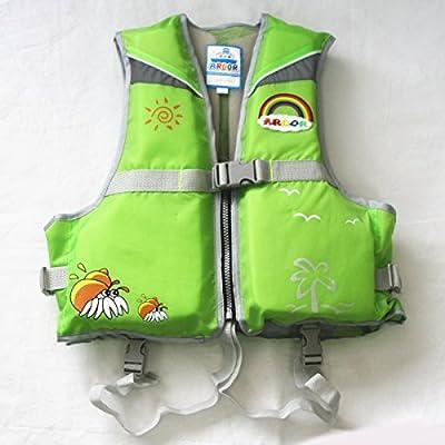 子供用 ライフジャケット 股ベルト付き フローティングベスト ARDOR (グリーン, S)