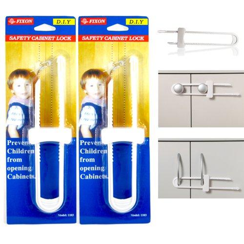 2 Pack Baby U Shape Safety Cabinet Locks Door Fridge Child White Drawer Plastic front-477222