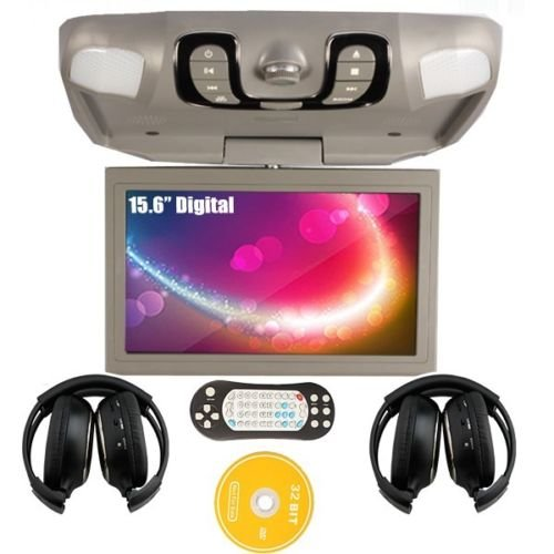 Ouku 15.6 Inch Roof Mount Flip Down Overhead Car Dvd Player Support Game Sd Card(Gray Color) + Ir Headphone