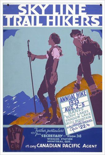 Sky Line Trail Hikers, Annual Hike 1935 (Canadian Pacific) Vintage Art Poster Print