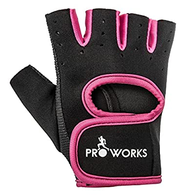 Proworks Women's Padded Grip Fingerless Gym Gloves for Weight Lifting, Cross Training, Exercise Bikes & More - Black with Pink Trim by Proworks