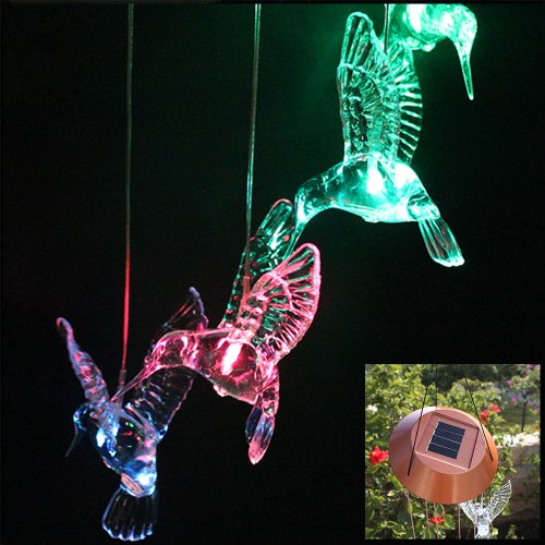 IMAGE® Windlights Solar Powered LED Changing Light Color Hummingbird Wind Chimes for Gardening Lighting Decoration Home