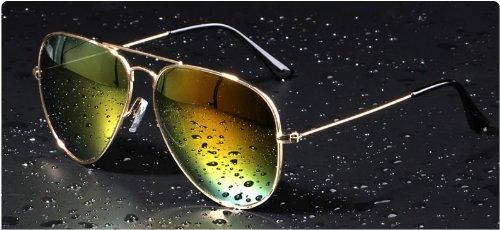 Mode Sonnenbrille für Damen und Herren,reflektierende Sonnenbrille,Gradientfarben (gold+gelb-grün)