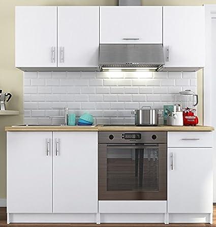 Cuisine complète blanche avec plan de travail bois 180 cm