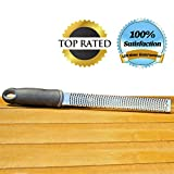 Lemon Zester Cheese Grater #1 Chef Rated 2-in-1 Premium Professional Kitchen Tool with Channel and Cover Best Durable Stainless Steel to Easily Grate or Zest All Citrus, Lemon, Lime, Oranges, Cheeses, Garlic, Coconut, Spices, Nuts, Chocolate and More! 100% Lifetime Guarantee