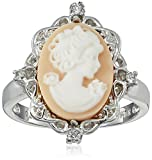 Sterling Silver Pink Cameo Oval with Created White Sapphire Ring, Size 7